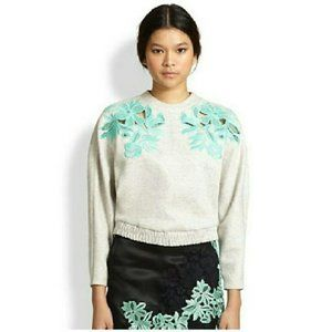 3.1 Phillip Lim Embroidered Lace Knit Sweatshirt